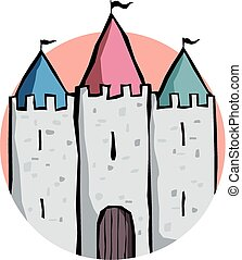 Three turrets - Cartoon image of the three turrets of a...