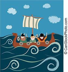 Viking ship - Cartoon image of a viking ship containg...