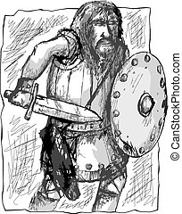 Warrior with sword and shield - Sketchy type illustration of...
