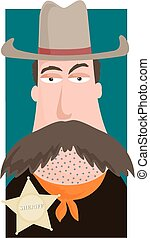 Western sheriff - Cartoon image of a wild west sheriff with...