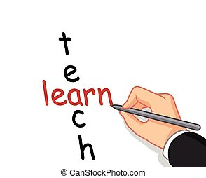 hand writing learn and teach - vector illustration of hand...