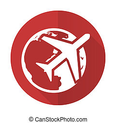 travel red flat icon