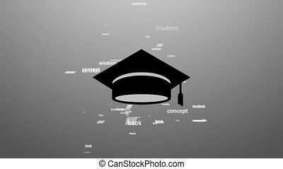 EDUCATION Word collage on white background Animation with...