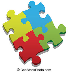Jigsaw puzzle - 3D puzzle isolated on white. Four colors