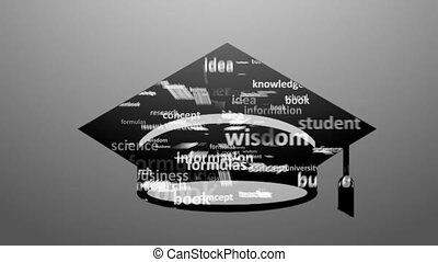 EDUCATION. Word collage on white background. Animation with...
