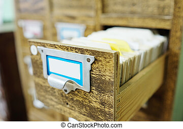 library - Catalog cards in library
