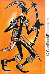 African archer - African traditional painting representing a...