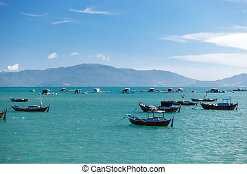 harbour fishing boats - turquoise harbour fishing boats in...