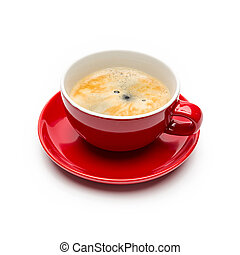 Fresh brewed coffee on whte - A cup of hot brewed coffee...