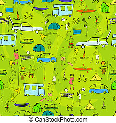 summer fun - seamless pattern with camping equipment,...