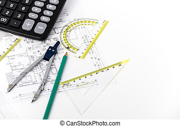 Architectural project, pair of compasses, rulers and...