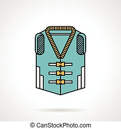 Life jacket flat design vector icon - Flat color design...