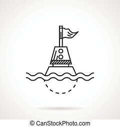 Nautical buoy black line vector ico - Flat black line vector...