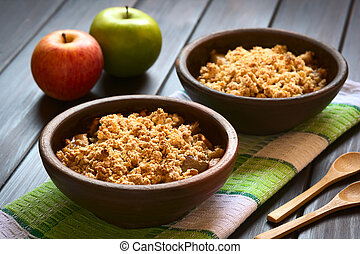 Baked Apple Crumble - Two rustic bowls of baked apple...