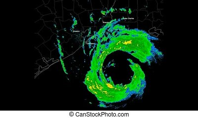 Hurricane Ike (2008) Landfall - Time Lapse Doppler Radar...