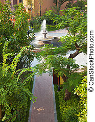 Fountain and footpath in Garden