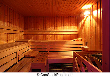 sauna room, light wood, with accessories