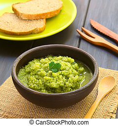 Zucchini and Parsley Spread - Rustic bowl of homemade...