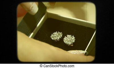 Close-up. Elegant Bridal Earrings In a Box