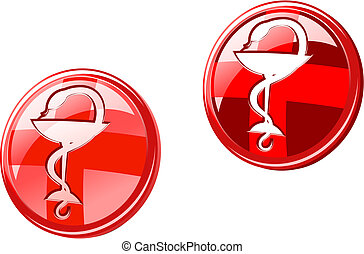 Medicine icons and signs isolated on white