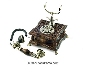 Old-fashioned telephone with picked up handset