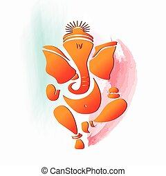 Ganesha Hindu God, water color painting. Eps10