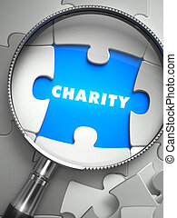Charity - Puzzle with Missing Piece through Loupe. 3d...