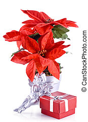 Christmas ornaments. - Red poinsettia, a silver angel and a...