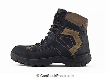 Side view of Warm leather boot for wearing in winter or...