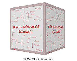 Health Insurance Exchange Word Cloud Concept on a 3D Whiteboard