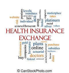 Health Insurance Exchange Word Cloud Concept with great...
