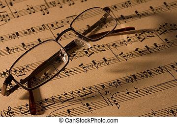 musik, glasögon