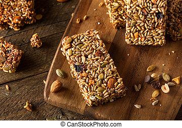 crudo, orgánico, granola, barras,