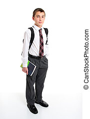 School student in white shirt and greay trousers. - A high...