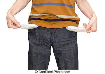 bankrupt. empty pockets