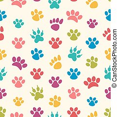 Seamless Texture with Traces of Cats, Dogs. Imprints of Paws Pets