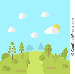Landscape woods valley hill forest land scene view...