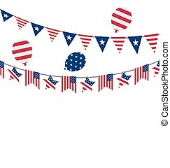 Flags USA Set Bunting Red White Blue Stars and Stripes for Celebration