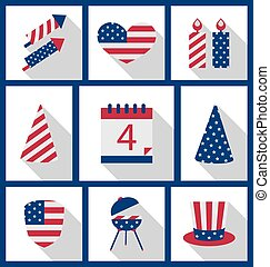 Icons Set USA Flag Color Independence Day 4th of July