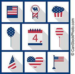 Icons Set USA Flag Color Independence Day 4th of July...