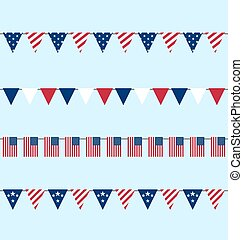 Flags Set American Bunting Independence Day 4th of July -...