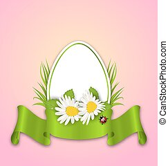 Easter paper egg with flowers daisy, grass, butterfly and ribbon