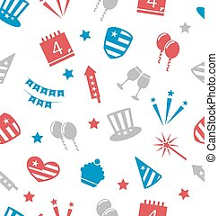 Seamless Pattern for Independence Day of America, Flat Icons...