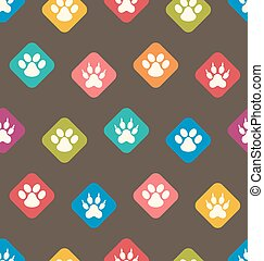 Seamless Texture with Colorful Traces of Cats, Dogs. Footprints of Paws Pets