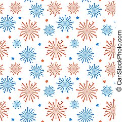 Seamless Pattern firework for Independence Day of USA,...