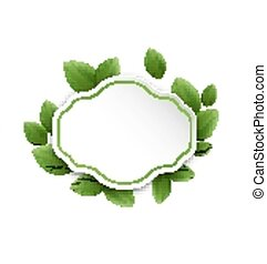 Abstract label with eco green leaves, isolated on white background