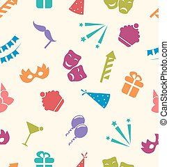 Seamless Pattern of Party Objects, Wallpaper for Holidays