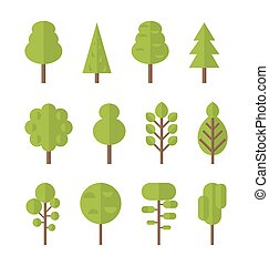 Collection set flat icons tree, garden bush - Collection set...