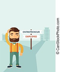Employee to entrepreneur - A hipster Caucasian man change...