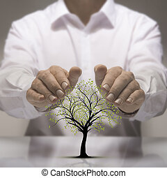 Environmental Protection - Two hands above a tree drawing....